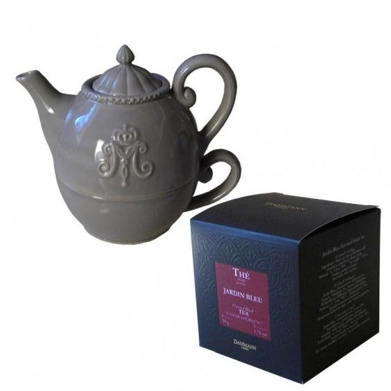 Lot Solitaire Céramique Gris et Boîte Thé Noir Jardin Bleu 25 sachets