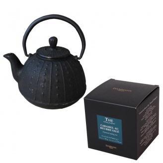 Lot Théière Fonte Parapluie Noire 0.8 L et Boîte de thé Oolong Caramel Beurre Salé 25 sachets