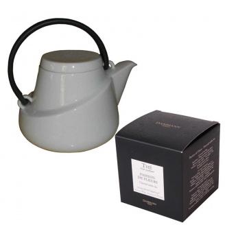Lot Théière Kinto Porcelaine Blanche 0,75 L et Boîte de Thé Blanc Passion de Fleurs 25 sachets