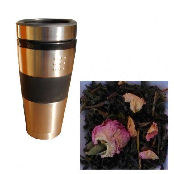 Lot Mug de voyage Double paroi  50 cl et Sachet de thé Vert à la Rose Bio 100g