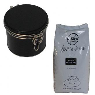 Boîte à café noire 100 g avec clip et sachet de café moulu Mexico Oro Vérani 250 g