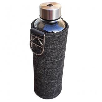 bouteille en verre 75 cl avec manchon tissu gris foncé a vendre
